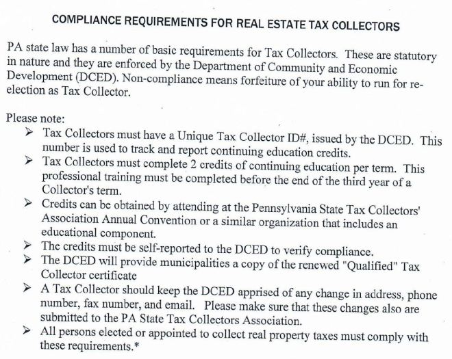 Tax Collectors Requiremenrs